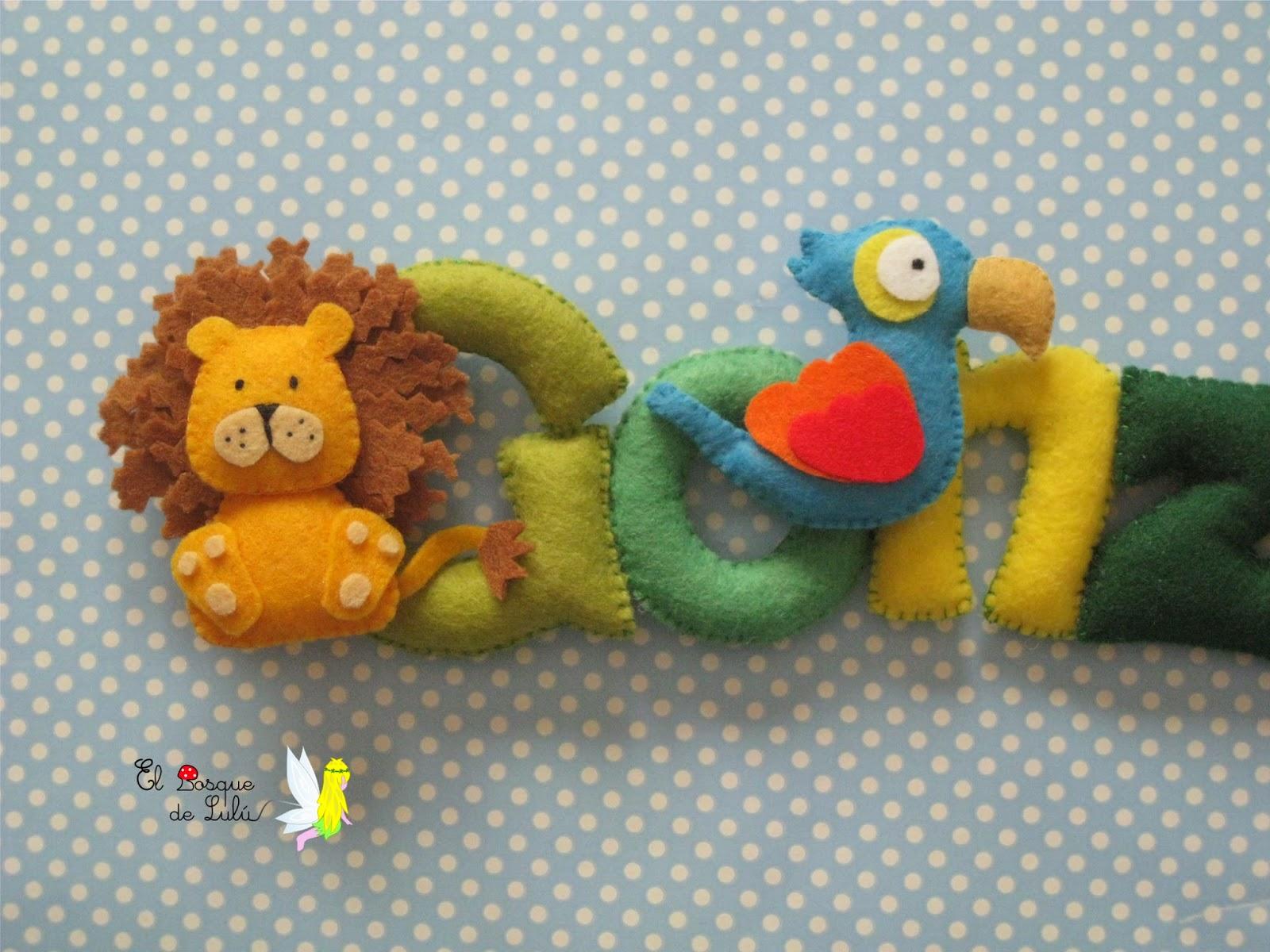 decoración-nombre-fieltro-animales-loro-leon-infantil-