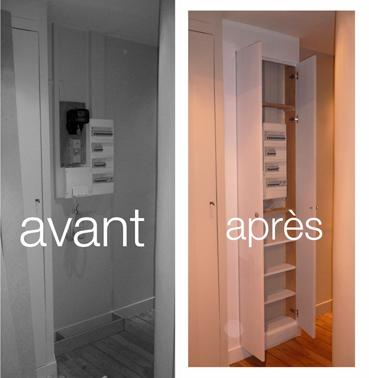 Pierre paris placard compteur lectrique - Comment cacher un placard sans porte ...