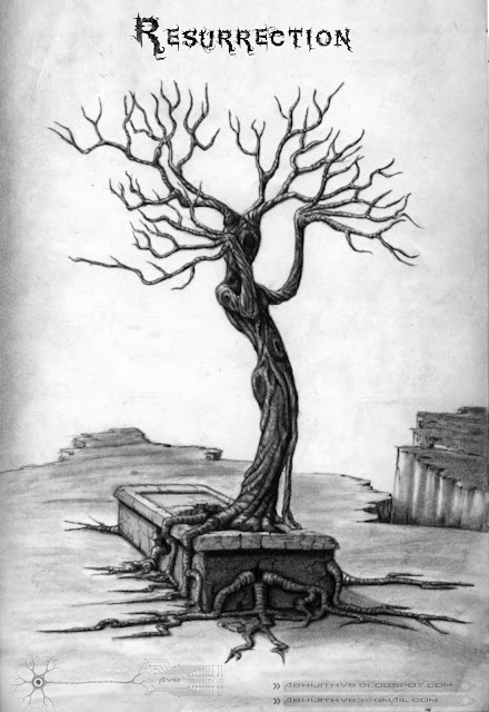 resurrection tree soul re birth art artist pencil drawing draw paper traditional surreal horror sadness sad pain agony love  death concept abhijithvb abhijith vb avb india kerala
