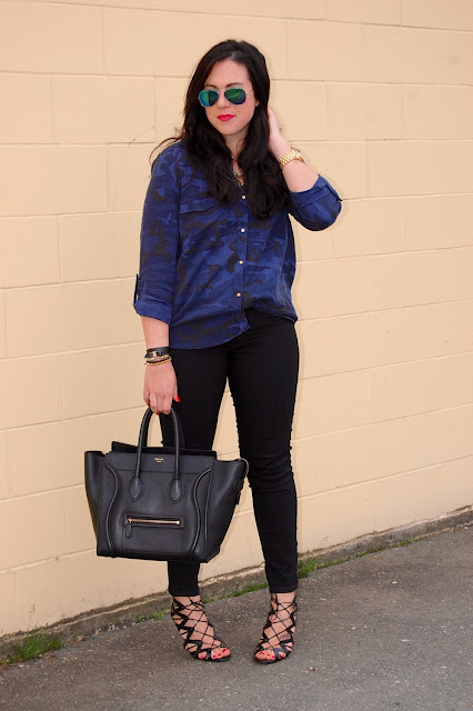 Zara camouflage blouse, Old Navy Rockstar jeans, Prabal Gurung for Target cage heels and a Celine mini luggage tote