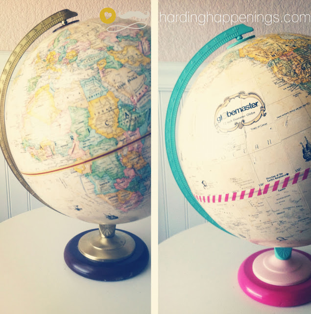 Washi Tape Globe via Harding Happenings, featured on Spool and Spoon