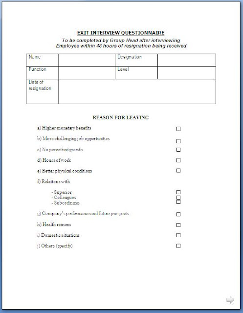 Exit Interview Questionnaire Form