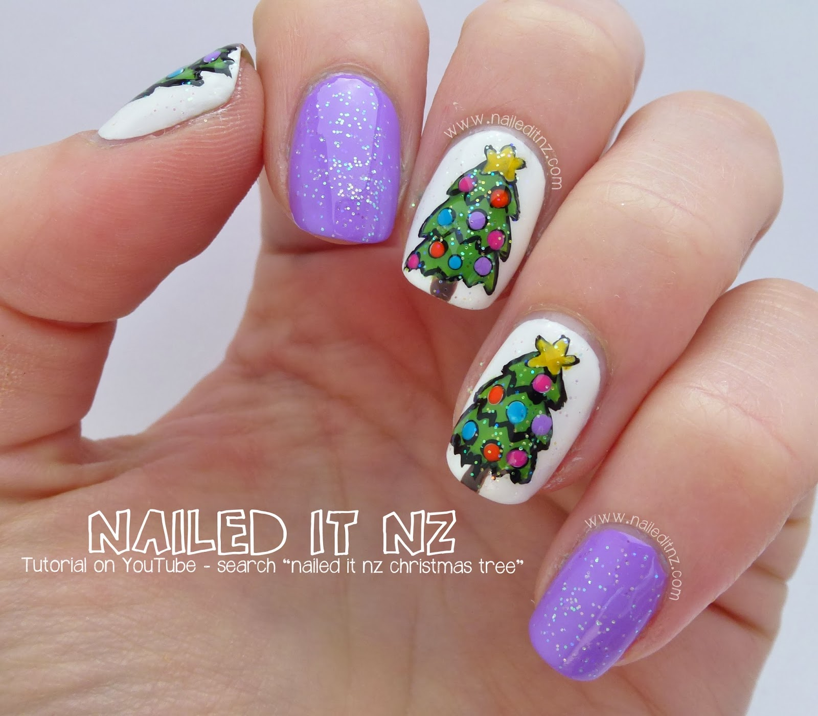 Holiday Nail Art Tutorials: Christmas Tree Nail Art Tutorial