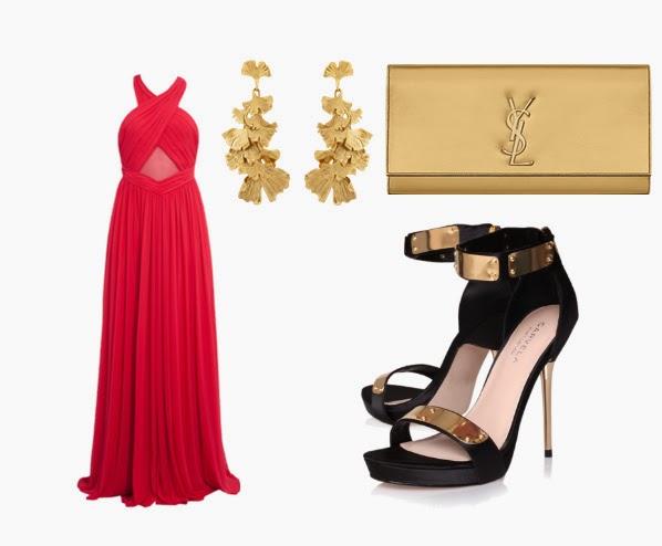 Vestido longo vermelho e acessorios