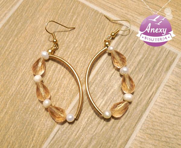 Aretes de Chapa de oro y perla de río