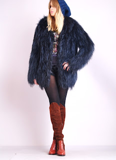 Vintage 1970's navy blue fluffy Mongolian fur coat.