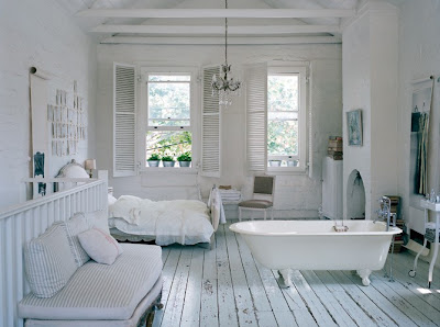 white rooms with blocks of colour