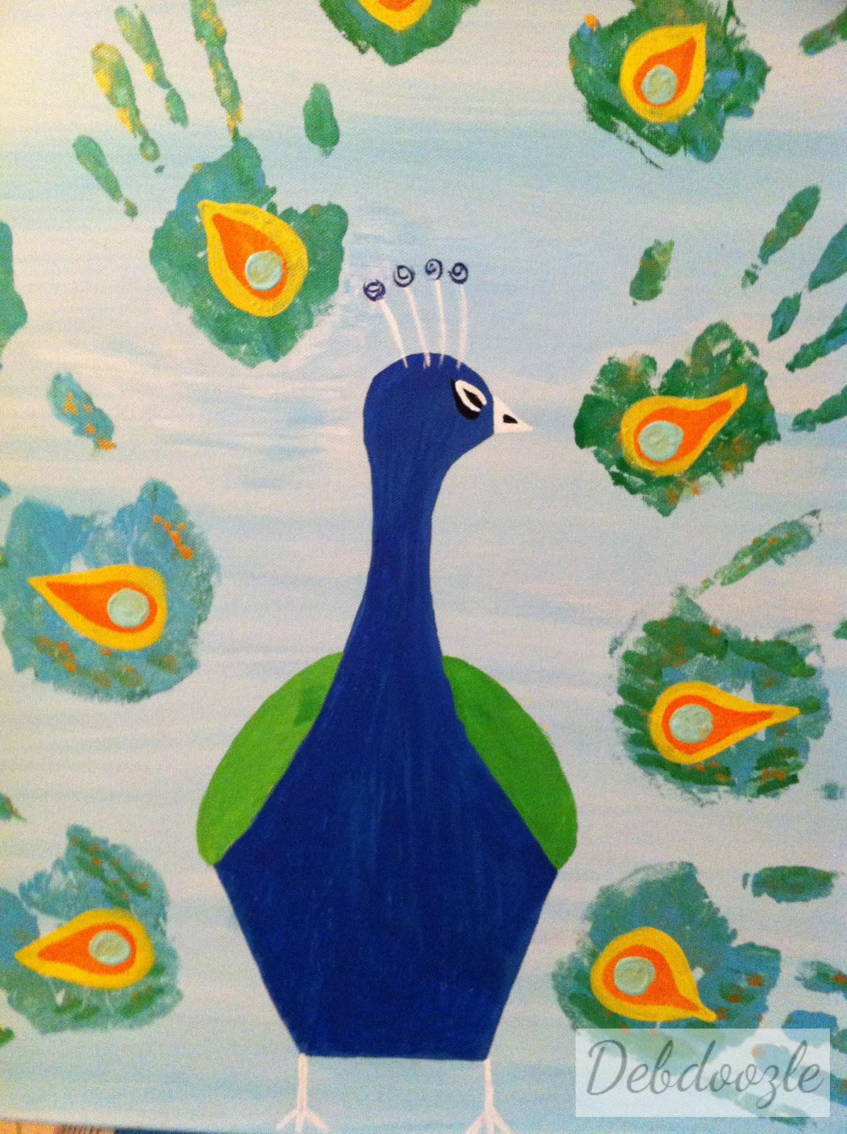 debdoozle  hands down  family hand prints peacock painting