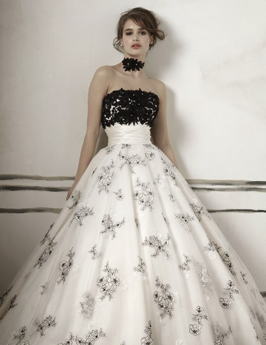 Whiteazalea ball gowns ball gown wedding dresses with for White wedding dress with black accents