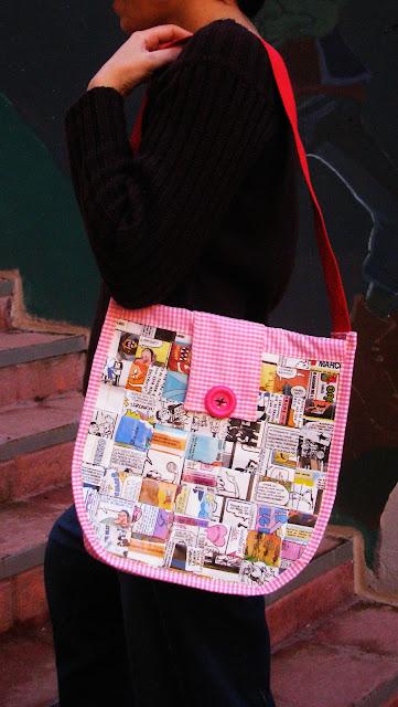 ojuilla bolso de comic rosa