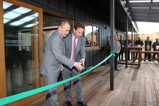 L-R: Governor-General Lt Gen The Rt Hon Sir Jerry Mateparae and John Bostock officially open the Bostock Organic Kitchen, and presentation of staff certificates, at Bostock's in Kirkwood Rd, Hastings. photograph