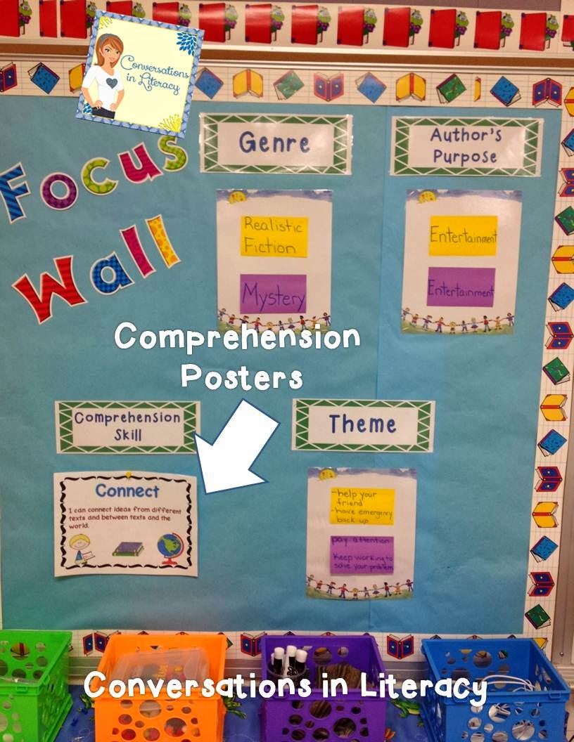 Cover comprehension skills by using a focus wall