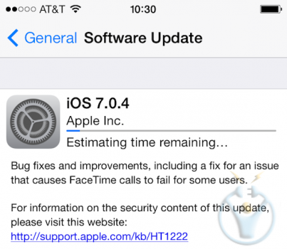 ios 7.0.4 güncellemesi