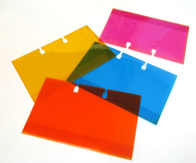 Colored plastic rolodex card holders