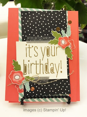 Stampin' Up! Big News + Pretty Petals Designer Paper Birthday Card #stampinup