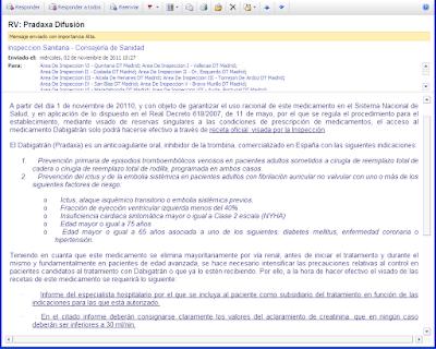 Correo electrónico del 02/11/2011, por el que se comunica a las Inspecciones Sanitarias de Madrid el visado de Dabigatrán (Pradaxa®)