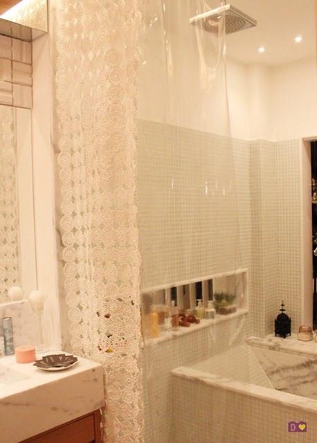 Puerta al sur ba o cortinas de ducha originales de crochet for Cortinas bano originales