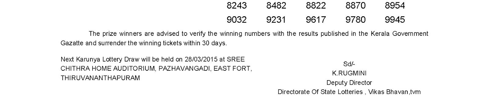 KARUNYA Lottery KR 182 Result 21-3-2015