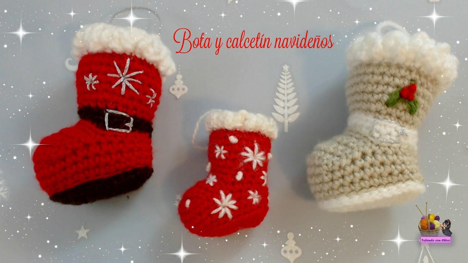 Tejiendo con chico bota o calcetin para adornar en navidad - Calcetin de navidad ...