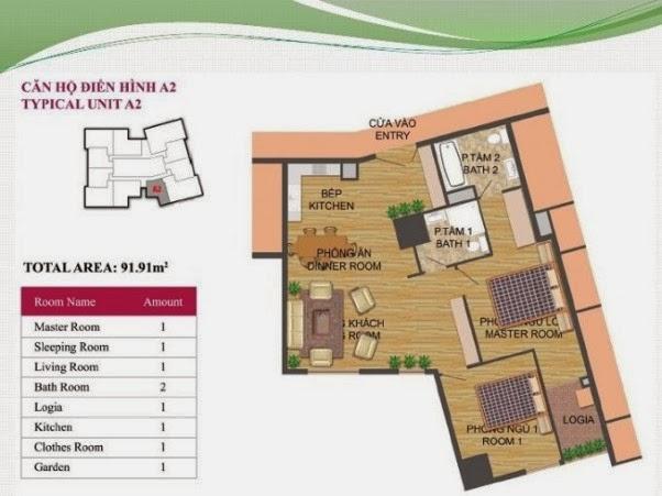 căn hộ A2 ( 91,91m2 ) chung cư Hà Đô Park View Dịch Vọng