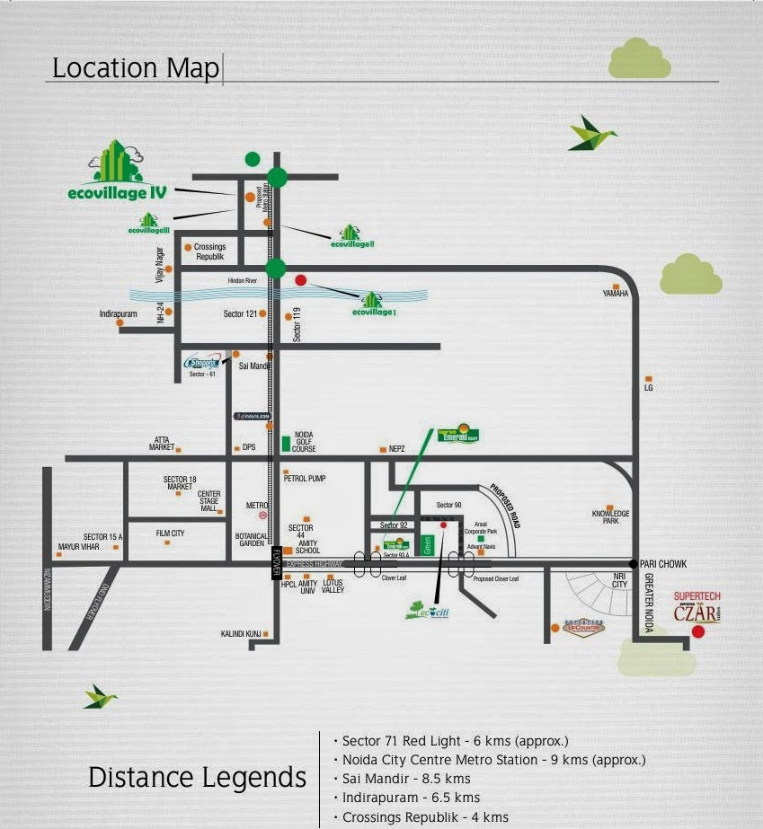 Ecovillage 4 Noida Extension :: Location Map