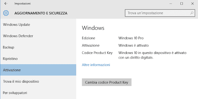 Windows 10 Update Cambia product key