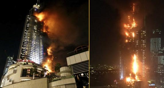 Gambar sekitar hotel mewah 63 tingkat berdekatan Burj Khalifa terbakar