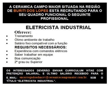 Cerâmica Campo Maior Recruta Eletricista Industrial