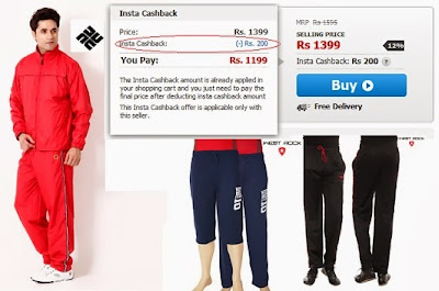 Track Pants / Track Suits with Extra Cash Back Offer at Snapdeal