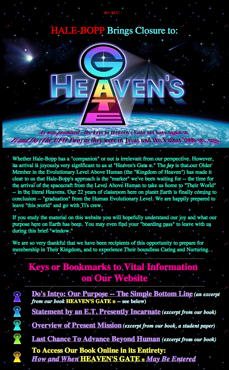 the influence of the cult of the heavens gate Destructive cults heaven's gate: christian / ufo believers sponsored link heaven's gate is a destructive, doomsday cult centered in california 21 women and 18 men voluntarily committed.