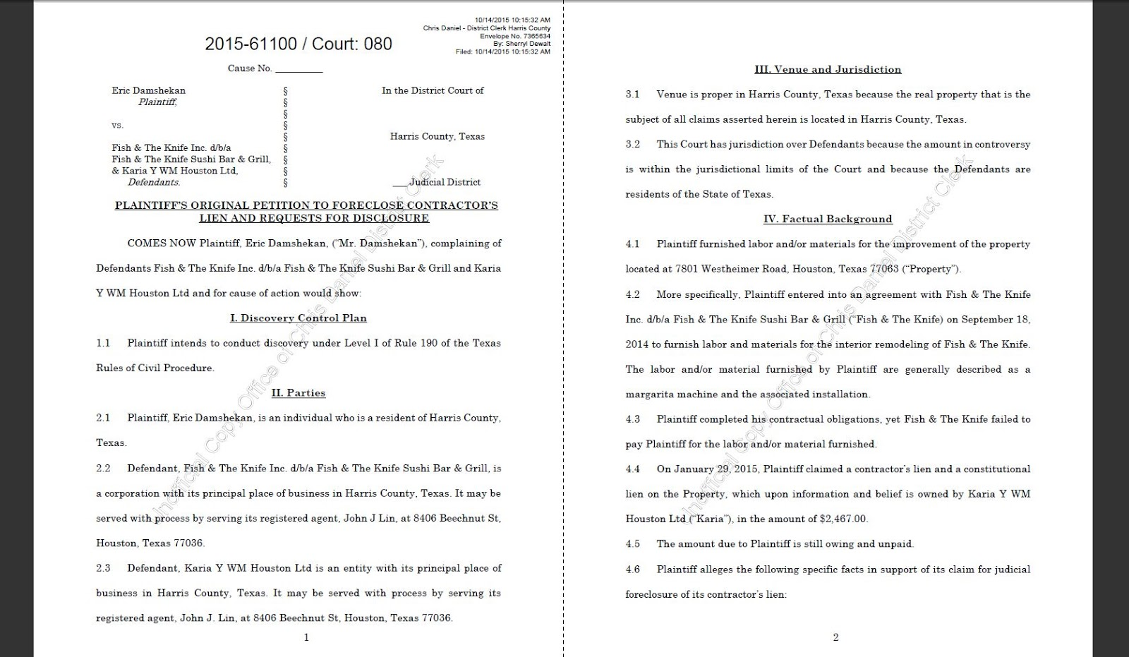 Houston courts cases 2015 sample pleading from suit by contractor against restaurant over equipment installation 1betcityfo Images