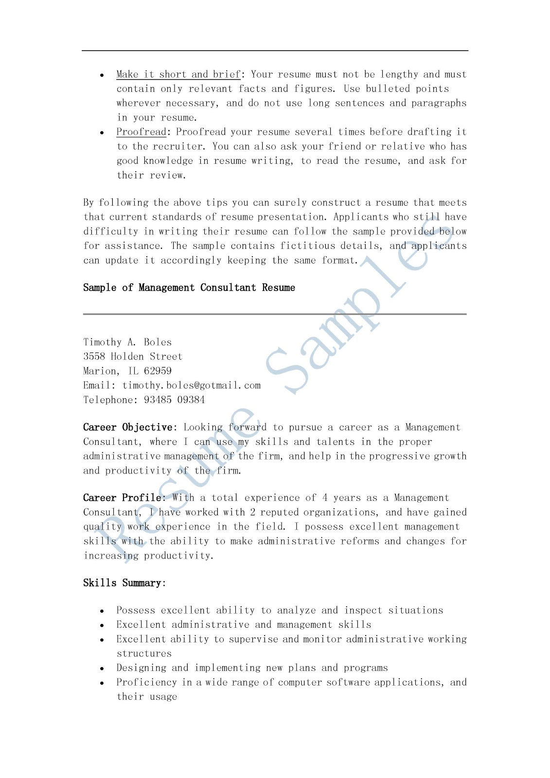 resume sles management consultant resume