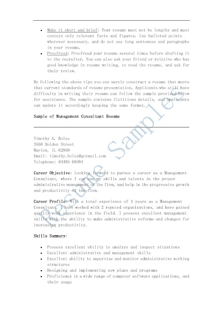 Resume for a management consultant