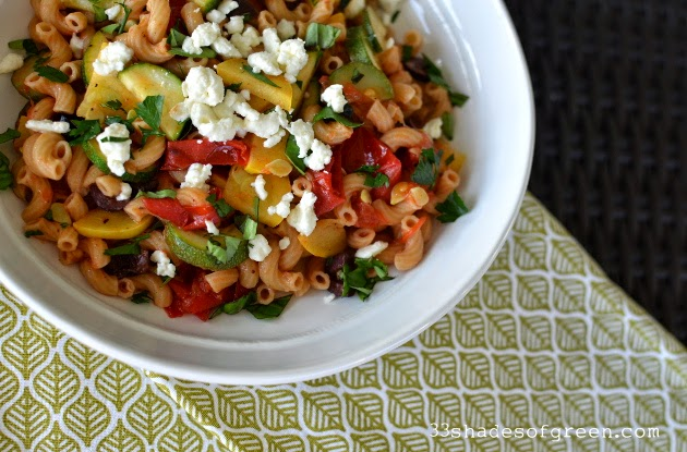 ... of Green: Weekend Kitchen: Summer Veggie Pasta with Feta & Herbs