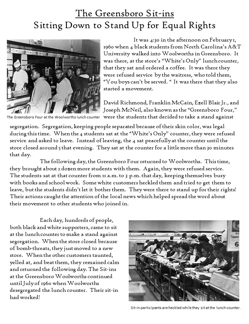 greensboro sit ins essay example The greensboro sit-ins were non-violent protests in greensboro, north carolina, which lasted from february 1, 1960 to july 25, 1960 the protests led to the woolworth department store chain ending its policy of racial segregation in its stores in the southern united states.