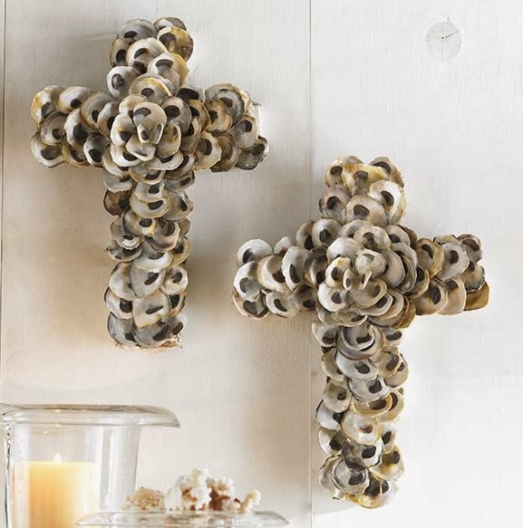 oyster shell cross, christmas decorating, beach decorating, unique cross