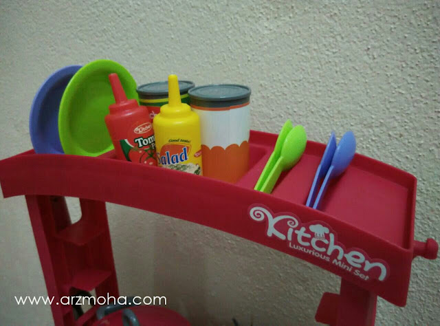 set dapur mainan lengkap rak pinggan, mainan kanak-kanak, hadiah harijadi buat anak perempuan,