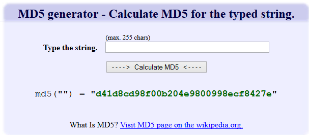 MD5 Generator - Calculate MD5 for the typed string
