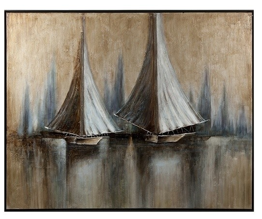 Twin Sails Framed Oil Painting, Lake House Decor, Beach House Decor, Lake House Art, Beach House Art