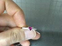 478:中古 ハートシェイプ ルビー 0.47ct メレダイヤモンド0.15ct PT900 リング #10.5