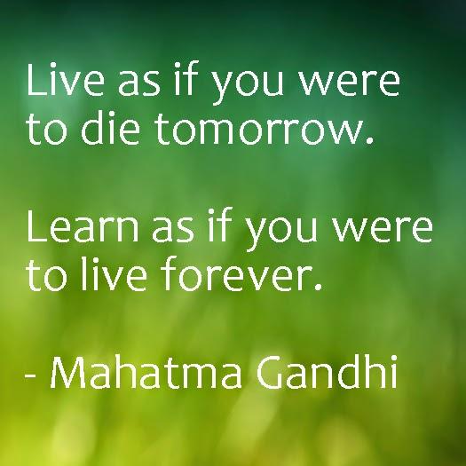 Inspirational quote from Mahatma Ghandi.