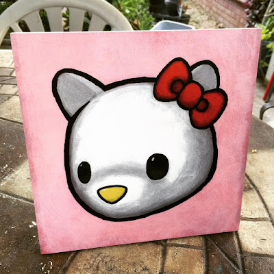 "Designer Con 2015 Exclusive Hello Kitty ""Hello Lukey"" Prints on Wood by Luke Chueh"