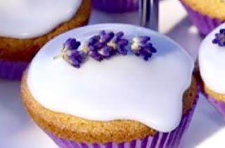 Lavender Cupcakes: Classic cupcakes made with lavender milk that are iced and decorated with lavender flowers.