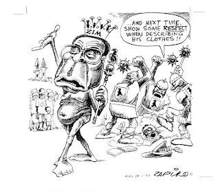caricatura autor Zapiro Mugabe camina desnudo con cetro y corona y sus matones castigan a un periodista sobre sus comentarios sobre su ropa