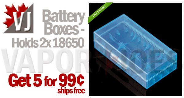 5-Pack of Battery Boxes - Holds 2x 18650 - Blue
