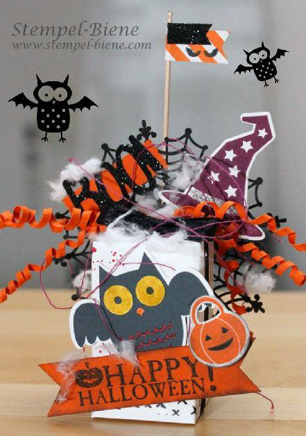 Halloweenverpackung stampin up; Stampin Up Howl-o-ween; Team Stempel-Biene; Stampinup Ideen; Stampinup Sammelbestellung; Ideen für Halloween