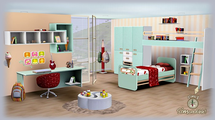 My sims 3 blog little wonders bedroom set by simcredible for Sims 4 bedroom ideas