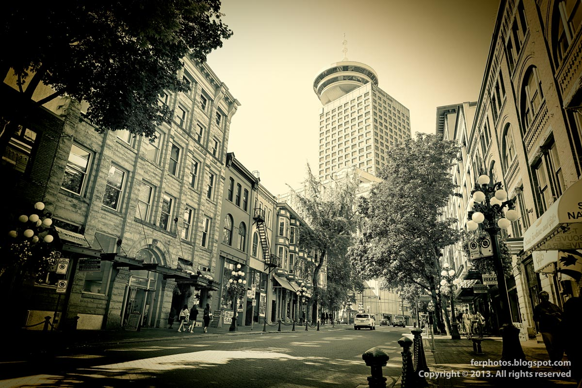 Gastown Water Street Vancouver Canada black and white downtown