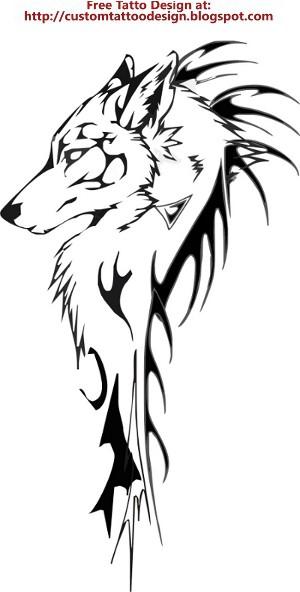 Free Tattoo Design: Wolf Tribal For Arm Temporary Tattoo Design