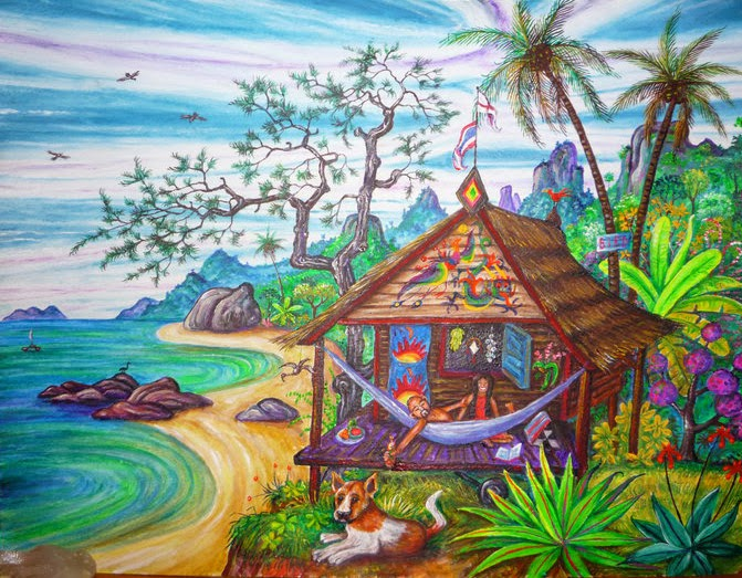 psychedelic artist colins painting of our beach hut